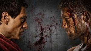 promo still - Crassus (Simon+Merrells), Spartacus (Liam+McIntyre)