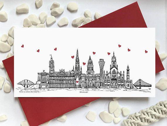 Edinburgh card  skyline landmark landscape card  Home is