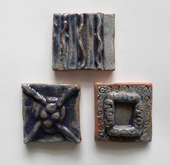 Blue Glazed Tiles Set of Three Small Handmade Original Tiles