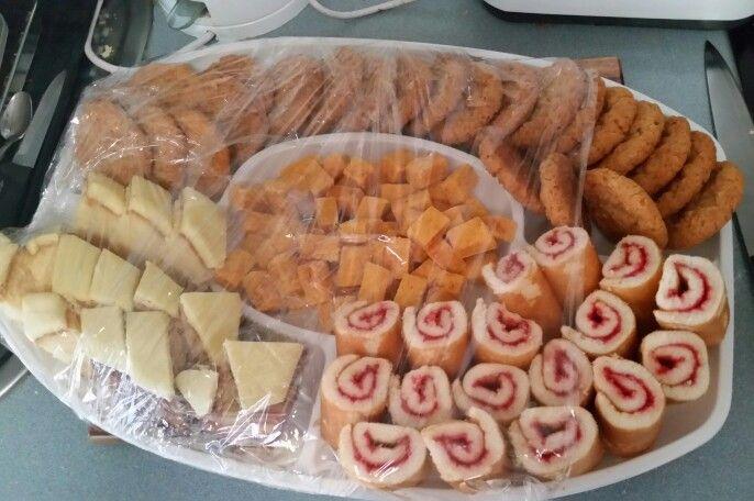 Madeira cake, anzac, jam scrolls, apricot square
