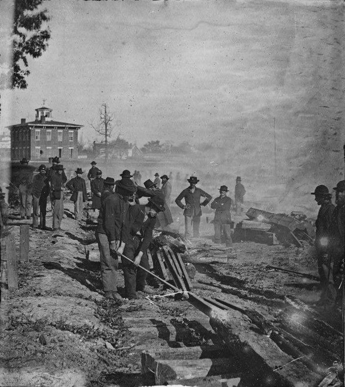 Sherman's army destroying rail infrastructure in Atlanta, 1864