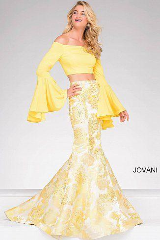 64b367434718 Yellow Two-Piece Bell Sleeve Mermaid Prom Dress 48922 #PrintDress #Jovani  #Prom2018