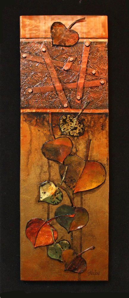 """Autumn Elegy"" metal/paper aspen leaves by Carol Nelson"