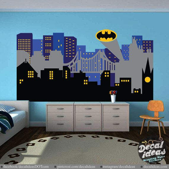 City Skyline Decal Superhero City Skyline wall by StunningWalls
