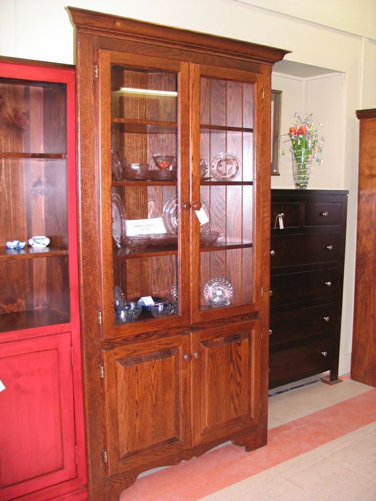 Oak corner china cabinet woodworking projects plans for Wood hutch plans