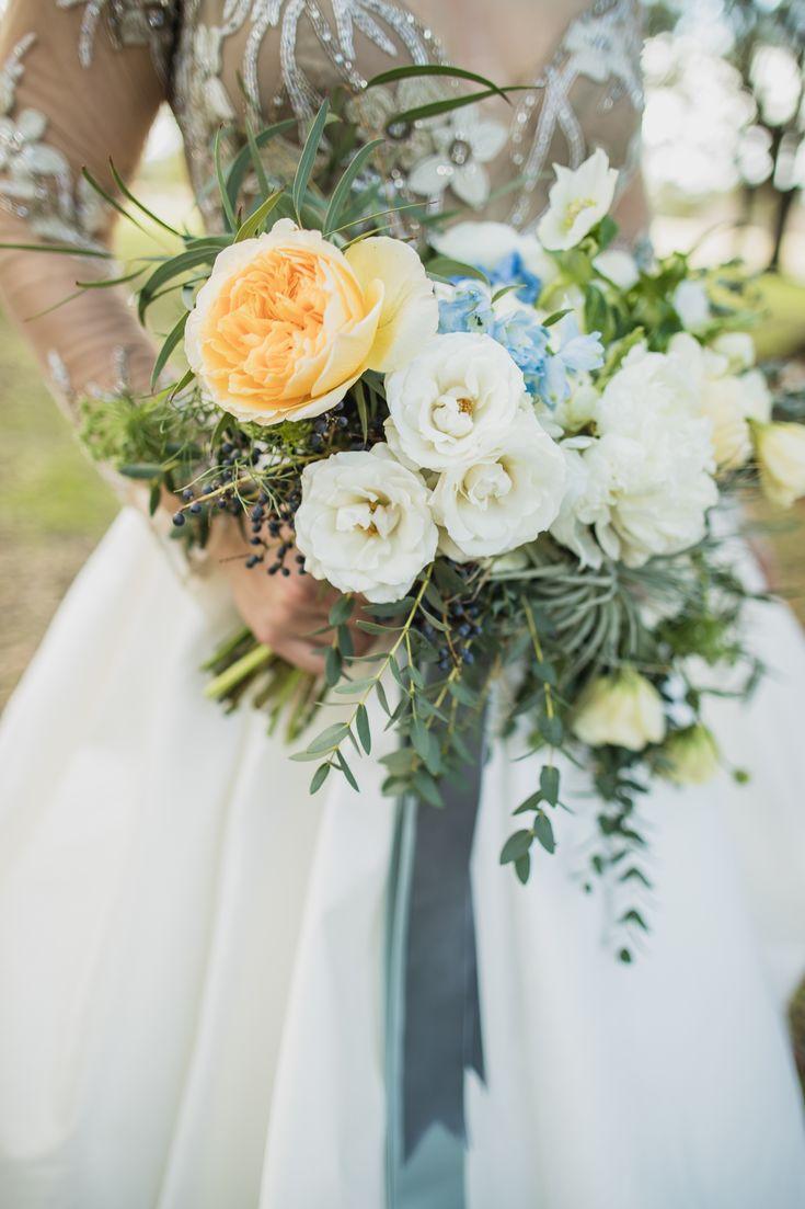 peach, light blue and cream wedding bouquet