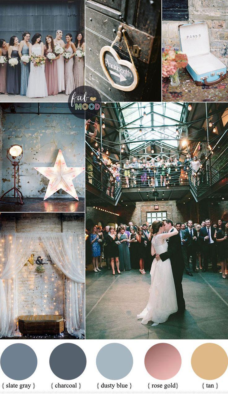 Eclectic Warehouse Wedding Inspiration + mismatched bridesmaid dresses Slate…