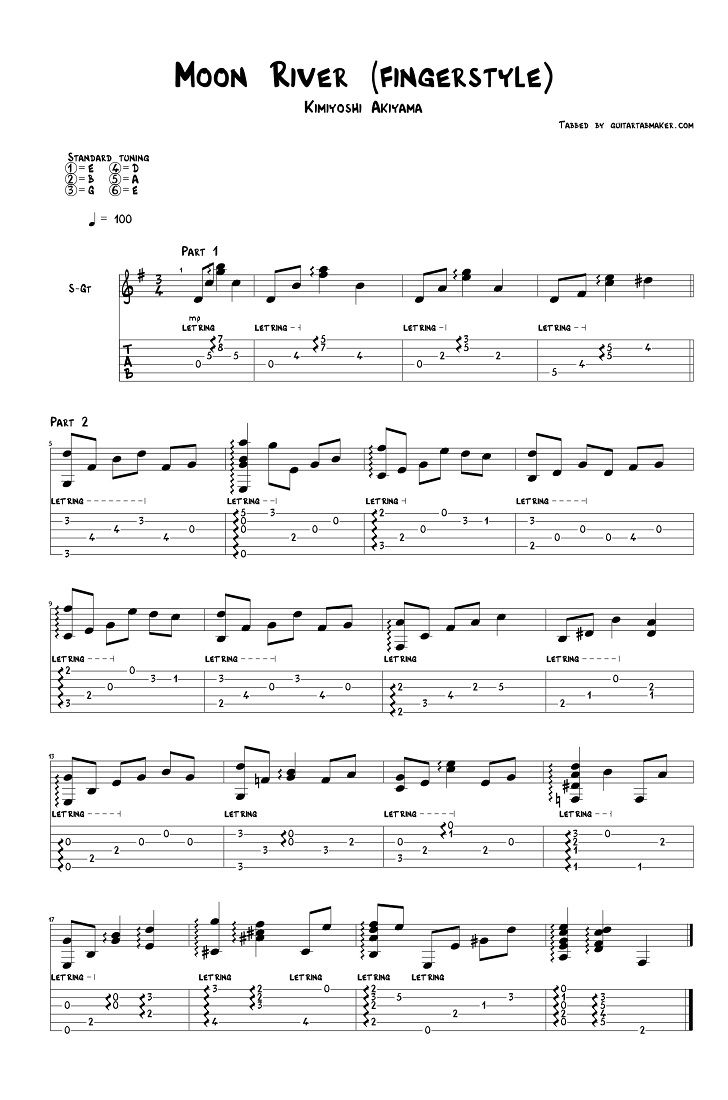 Moon River Fingerstyle Guitar Tab Pdf Guitar Sheet Music Guitar Pro Tab Download Guitar Tabs Guitar Sheet Music Fingerstyle Guitar