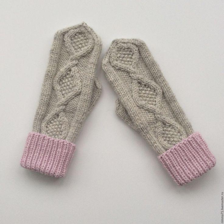 Купить Варежки вязаные - серый, однотонный, варежки, варежки ручной работы, варежки вязаные, рукавички