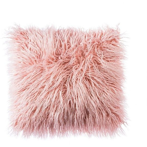 OJIA Deluxe Home Decorative Super Soft Plush Mongolian Faux Fur Throw... (£14) ❤️ liked on Polyvore featuring home, home decor, throw pillows, pillows, fillers, extra, plush throw pillows, pink throw pillows, pink accent pillows and pink toss pillows