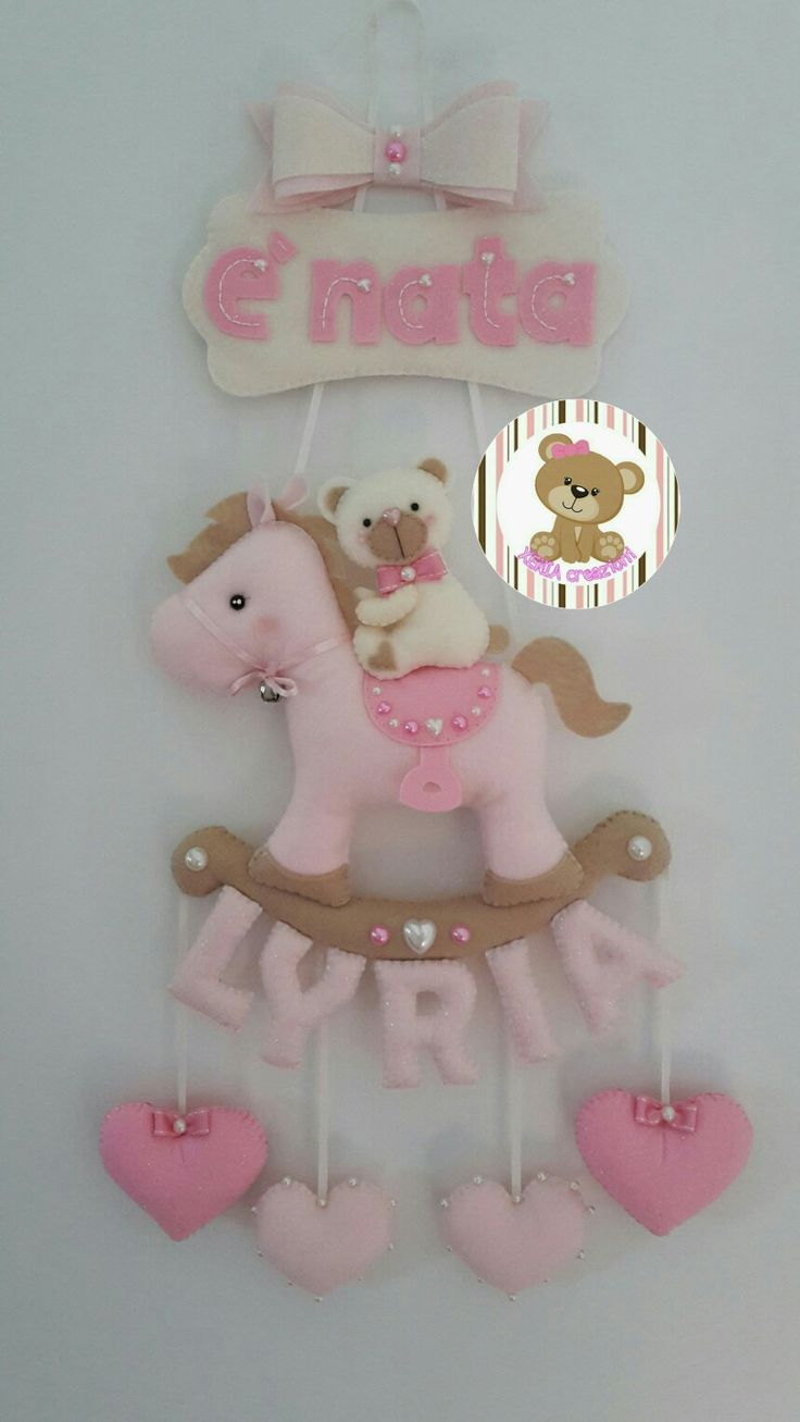 Fiocco nascita pony e orsetto con nome personalizzabile. Per informazioni scrivere un messaggio tramite la mia pagina Facebook XENIA creazioni