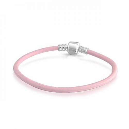 Bling Jewelry Pink Leather Sterling Silver Barrel Clasp Bracelet Fits Pandora
