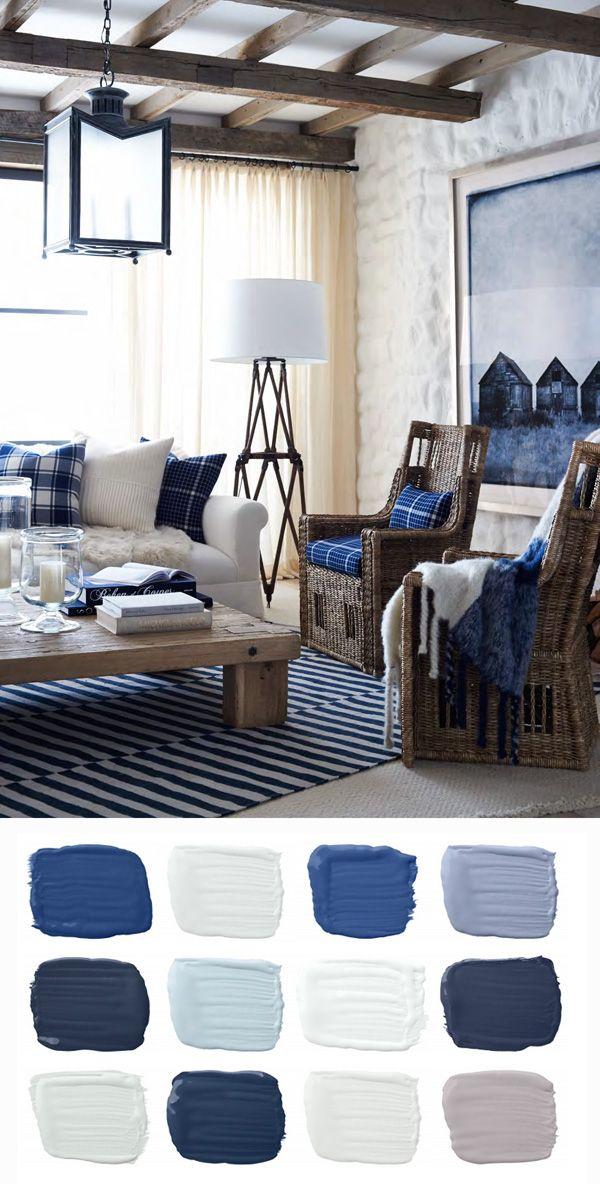 357 best navy white cream oh my images on pinterest for Blue themed living room ideas