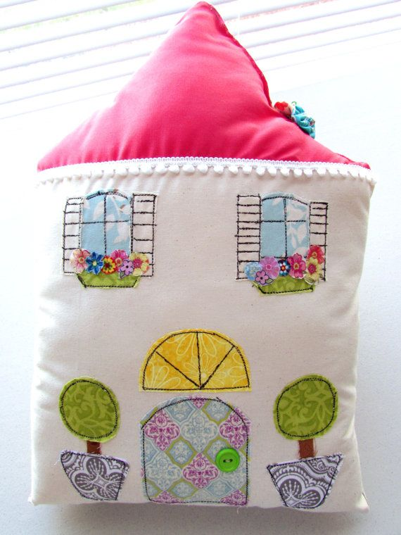 Spring Pillow Flower Pillow House Shaped Pillow by Itsewbella, $30.00