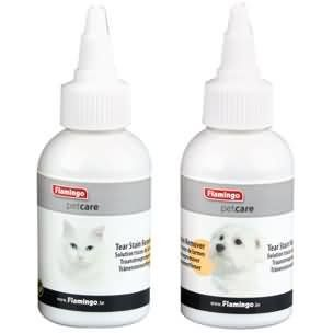 Aus der Kategorie Augenpflege  gibt es, zum Preis von EUR 4,63  FLAMINGO Augenpflege TEAR STAIN REMOVER<br /><br />Tränenstein-Entferner zur schonenden Beseitigung von Tränensteinen, für Hunde und Katzen geeignet<br /><br />Viele Tiere leiden unter Tränensteinen und Triefaugen. <br />Mit diesem Tränensteinentferner werden Verfärbungen und Verhärtungen der Haare um die Augen effektiv und sicher entfernt. <br /><br />Bringen Sie ein wenig Tränensteinentferner auf einen Wattebausch. Reiben Sie…