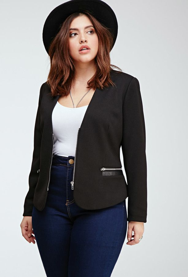 Plus Size FOREVER 21+ Zip-Front Blazer