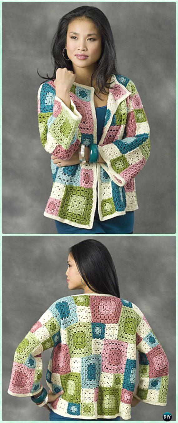 Crochet Granny Square Patchwork Tulsa Jacket Free Pattern - Crochet Granny Square Jacket Coat Free Patterns