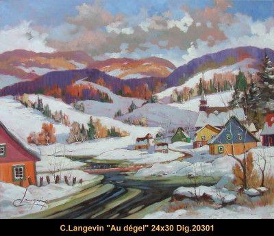 Claude Langevin original oil painting on canevas #claudelangevin #art #artist #canadianartist #quebecartist #originalpainting #oilpainting #countryscene #winterscene #snowmelting #balcondart #multiartltee