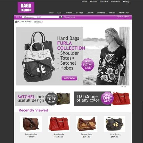 """Bags Fashion CS-Cart Template is specially designed for Woman`s and Man`s Handbags. There are Cross Body, Shoulder Bags, Totes, Satchel, Clutches, Hobos, Checkbook Wallets. Garmonical colors combination of black and violet. Accordion Slogan """"Best decorate our store are our products"""". It is very nice with its clean and professional look."""