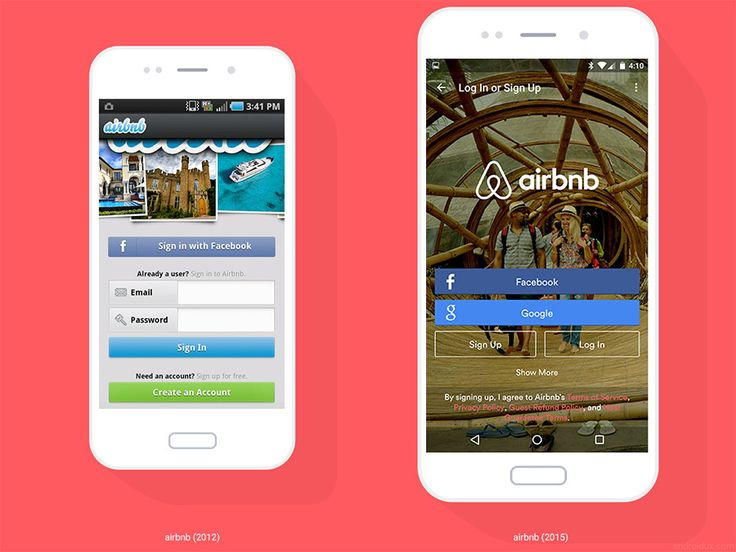 #BeforeAfter is a small collection of Android UX examples showcasing how apps have changed and evolved over the past few years. It includes screenshots from airbnb, Foursquare, Instagram, Snapchat, Tumblr, Yelp, and YouTube, with screenshots dating as far back as 2012.