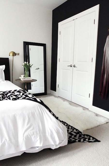 1 black wall, white trim.  From Lackluster to Lovely: Joy's Bedroom Makeover » Curbly | DIY Design Community