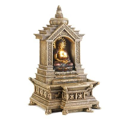 This delicate, golden Buddha temple water fountain for a tabletop seems so ideal for a home! I've heard that having a fountain in the interior of your home can bring an increased sense of serenity and peace to the atmosphere of your home. I'll have to keep an eye out for a fountain like this so that I can enjoy some peace in my home.