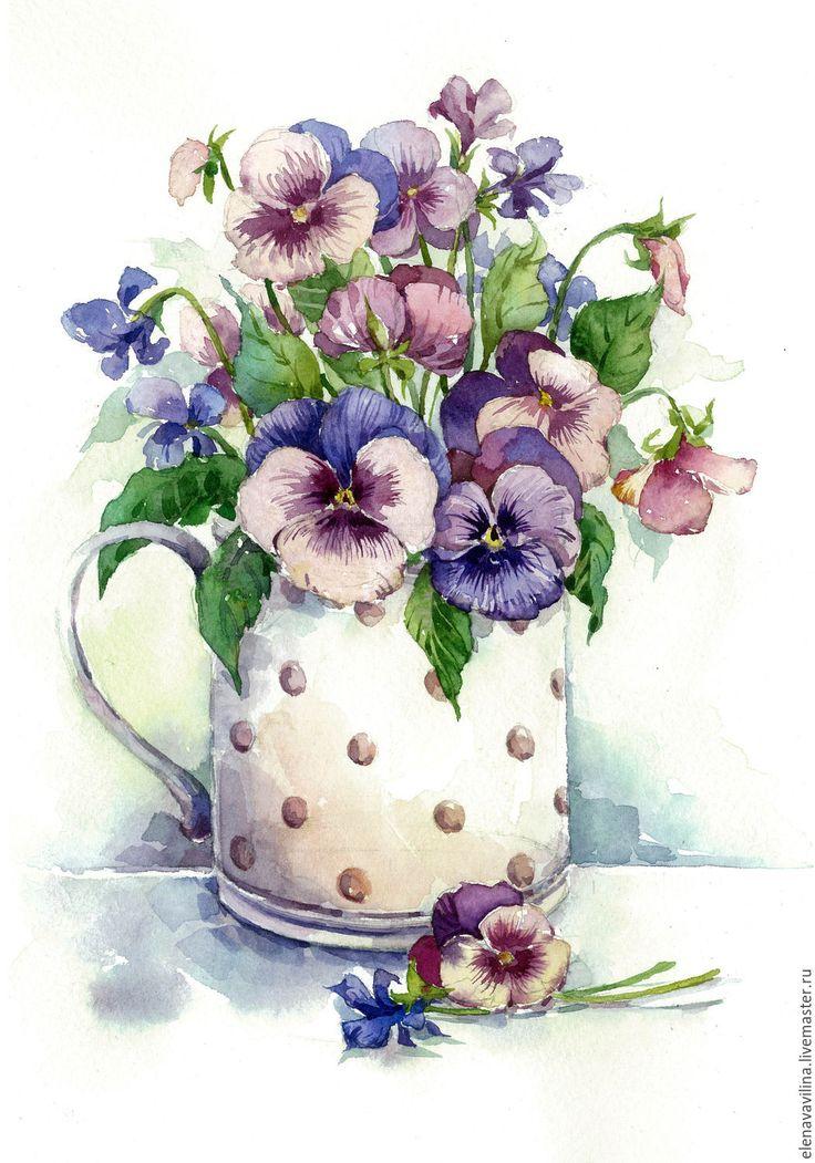Купить Анютины глазки в кружечке - сиреневый, анютины глазки, акварель, букет, картина в подарок, цветы