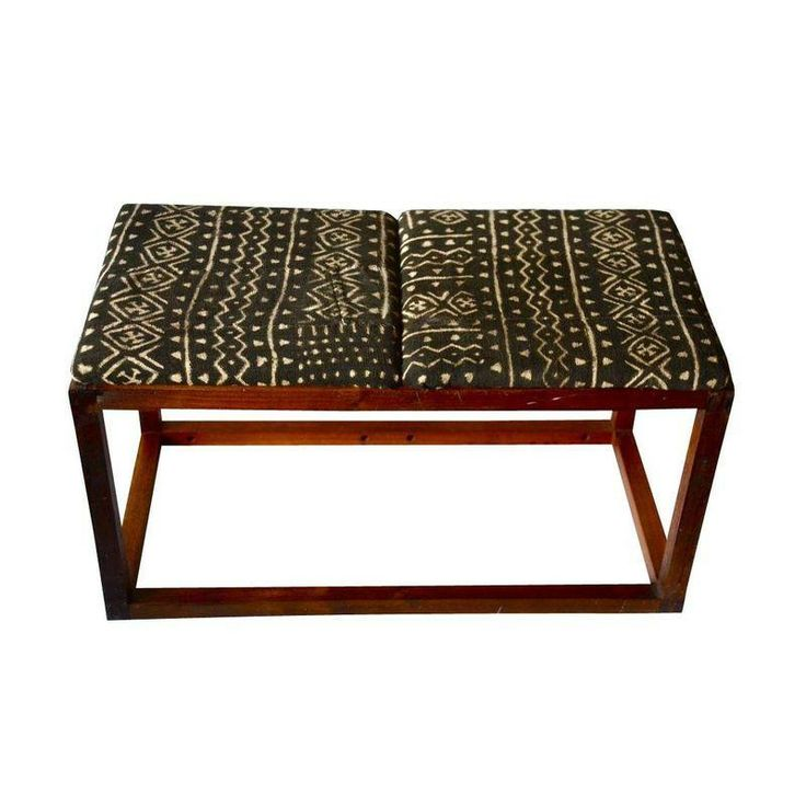 Mid Century Walnut U0026 Mud Cloth Bench