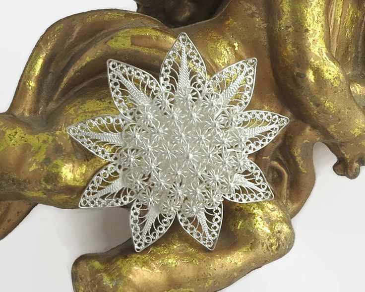 Sterling silver filigree flower brooch with extremely fine wire work with a multitude of tiny flowers in the center, c-clasp, circa 1940s by CardCurios on Etsy