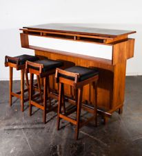 Mid Century Danish Modern Dry Bar  + Barstool Set 3 Solid Teak Erik Buch Dyrlund
