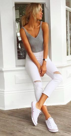Simple and stylish outfit: grey ribbed tee + ripped white jeans | find more fashionable women's clothing on zefinka.com | street style - casual outfit idea - the latest 2016 fashion trends