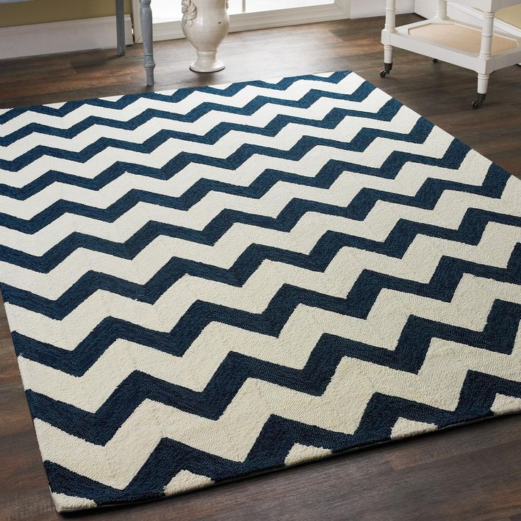 Navy Chevron Stripe Indoor Outdoor Rug A Modern Chevron Pattern In  Heathered Shades Of Navy And
