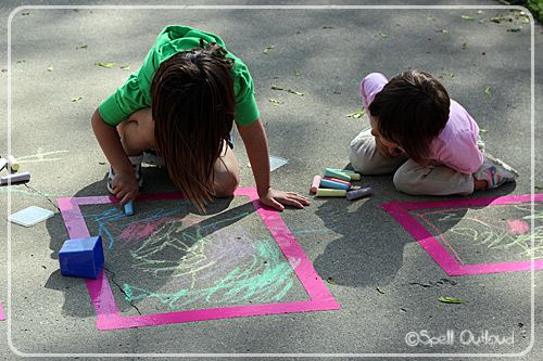 Evaporation lesson - make frames with duct tape, color with chalk inside, spray with water, see colors blend, leave alone for an hour, then see area dry again