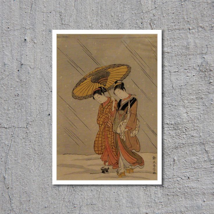ca.1768 Couple In A Snowstorm // Suzuki Harunobu // Asian Art // High Quality Fine Art Reproduction Giclée Print // Vintage Poster / Canvas by WiredWizardWeb on Etsy