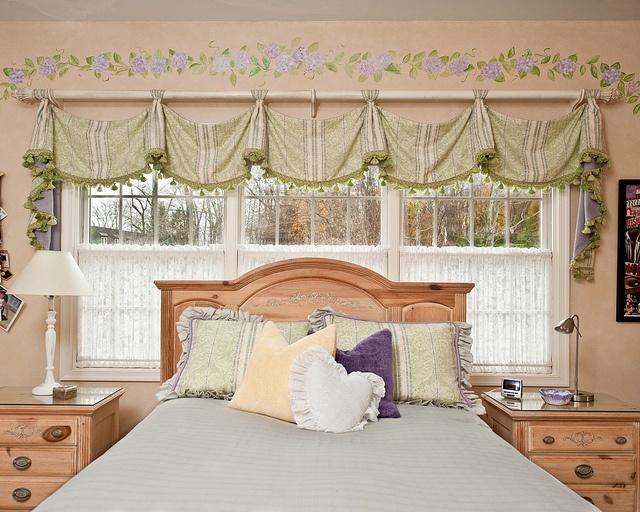 Savannah Valance by Window Works. Sanderson Fabrics, Kravet Trim, ADO Lace panels