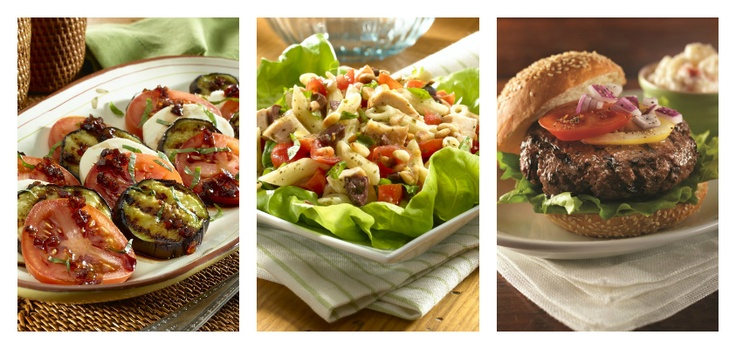 What's for dinner tonight? Try one of our delicious meal ideas on www.knorr.ca!    Recipes [from left to right]: Knorr Grilled Eggplant Caprese Salad, Knorr Pesto Chicken Salad, Knorr Juicy Burgers