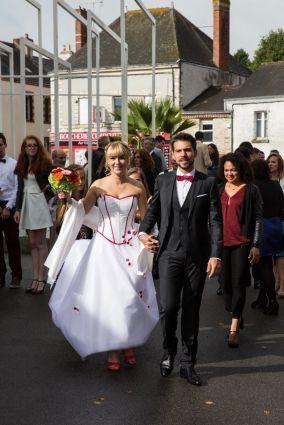 Robe de mariée corset, jupe tulle aux chevilles www.portez-vos-idees.com