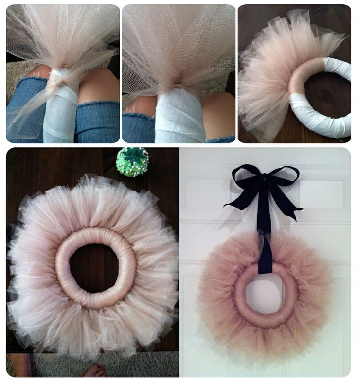 tulle wreath. Super cute, and you could do it with a ton of different colors, although I really like the soft pink and black