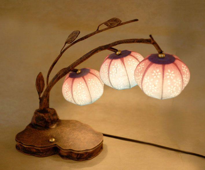Paper Lamp Shade with Three Bellflower Design Lantern Lights