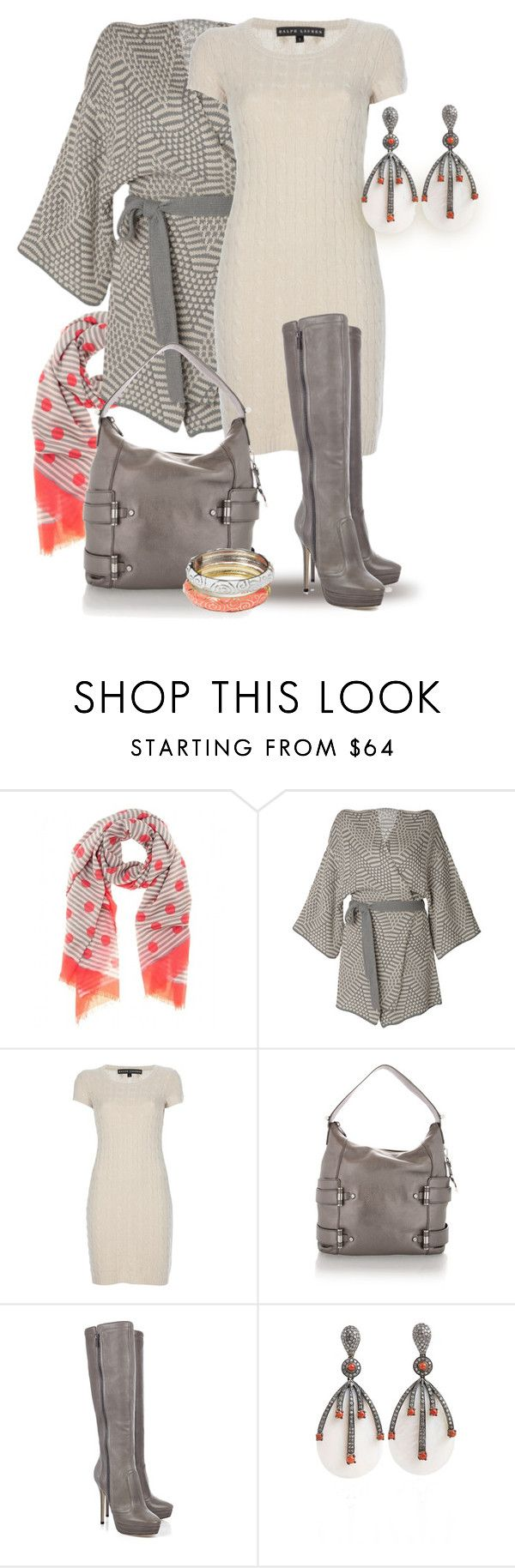 """""""Cardigan, Dress, Boots"""" by yasminasdream ❤ liked on Polyvore featuring Marc by Marc Jacobs, Raxevsky, Ralph Lauren, Michael Kors, Jimmy Choo and GUESS"""