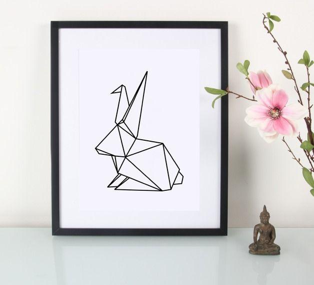 Digitaldruck - Artprint / Geometrischer Hase - ein Designerstück von Eulenschnitt bei DaWanda