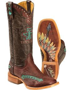 Tin Haul Arrowhead Cowgirl Boots - Square Toe, Red
