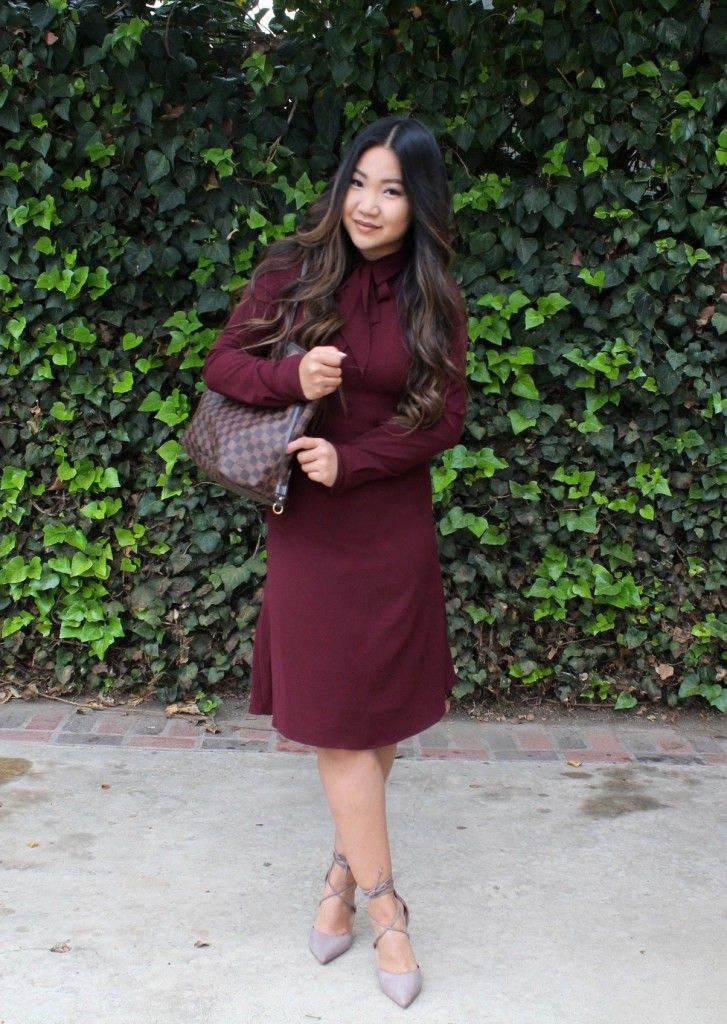 Burgundy Who What Wear Tie Neck Dress for today's Sunday Best! Steve Madden Taupe ankle strap pumps, Louis Vuitton Tote and Black Choies Cape.