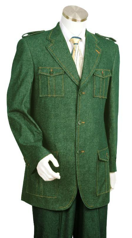 Aceituna verde Traje Alta Moda Tela Denim Zoot en 225 dólares