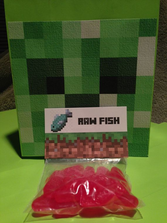 Minecraft Birthday Party Favors Raw Fish by Minecraft Party Solved #minecraft