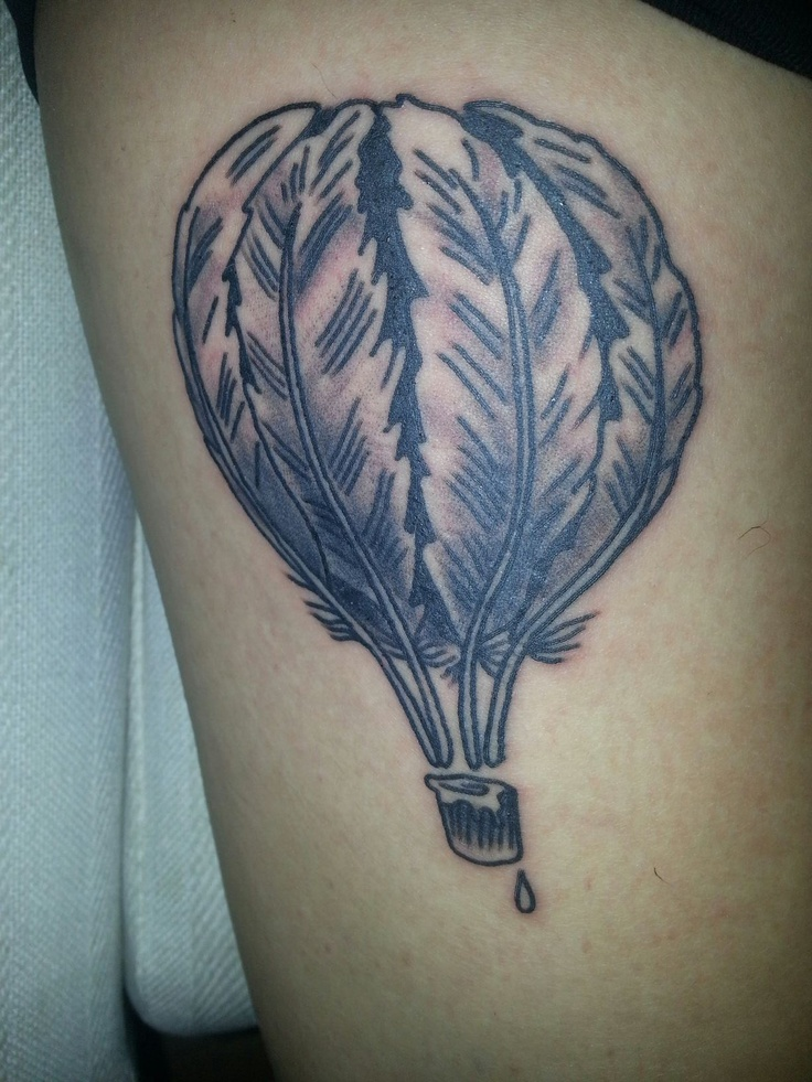 My hot air balloon made out of ink quills. Done by Christian at Haight Ashbury Tattoo and Piercing in San Francisco, California.