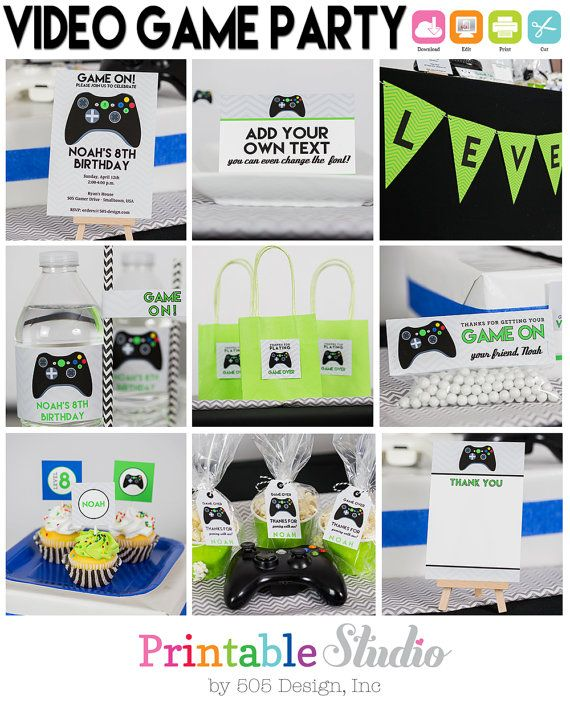 Video Game Birthday INSTANT Download  Video by PrintableStudio505