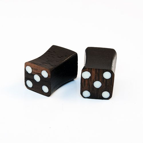 Wooden Dark Brown Organic Cube Saddle Plugs - Pierce of Mind