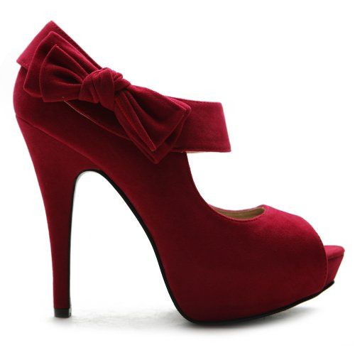 Ollio Women's Shoe Platform Open Toe High Heel Ribbon Accent Multi Color Pump (7.5, Red)
