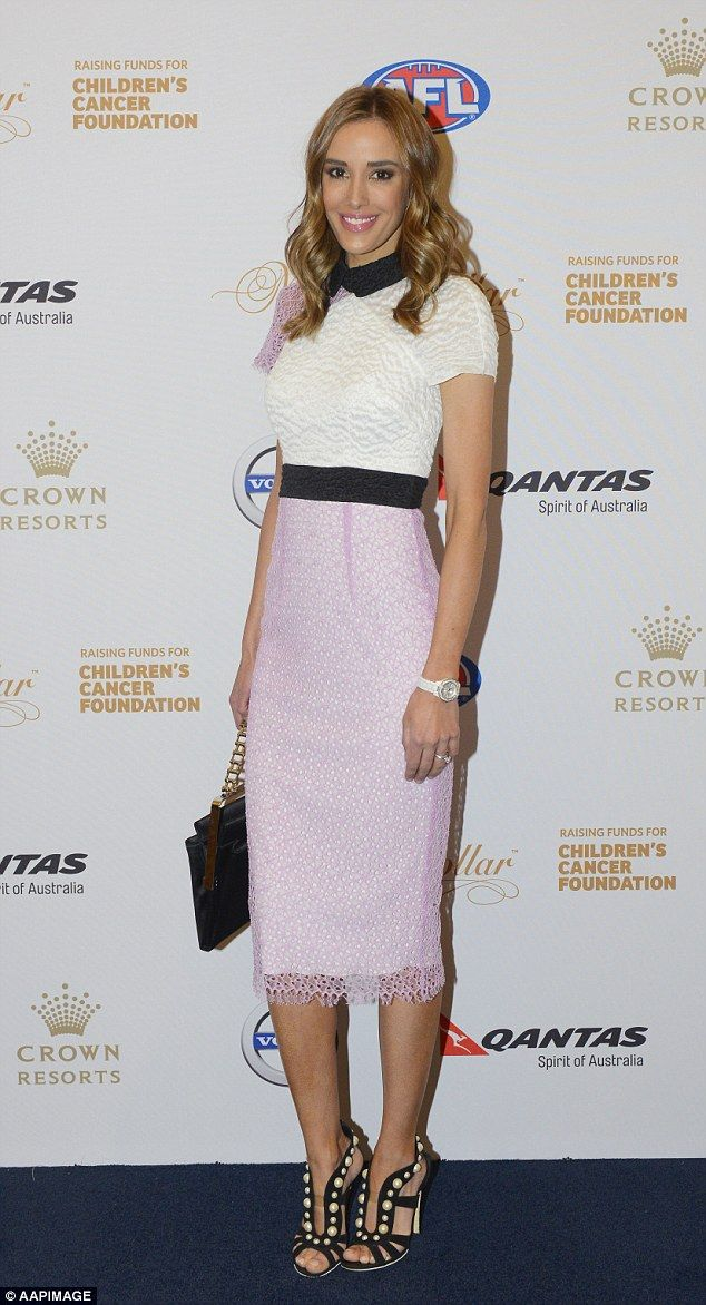 Gorgeous: Rebecca Judd was certainly dressed to impress when she arrived at the Million Dollar Lunch in Melbourne on Friday